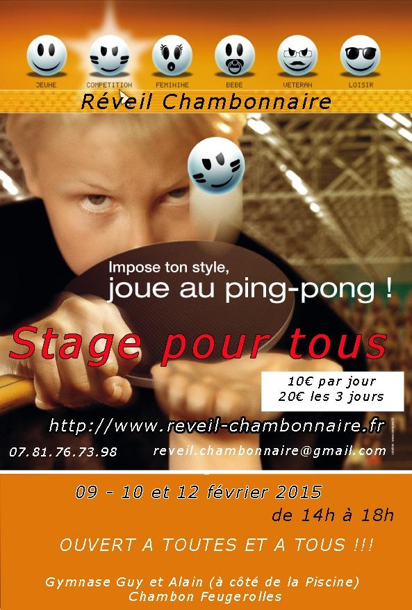Stage organisé par le Réveil Chambonnaire Tennis de Table