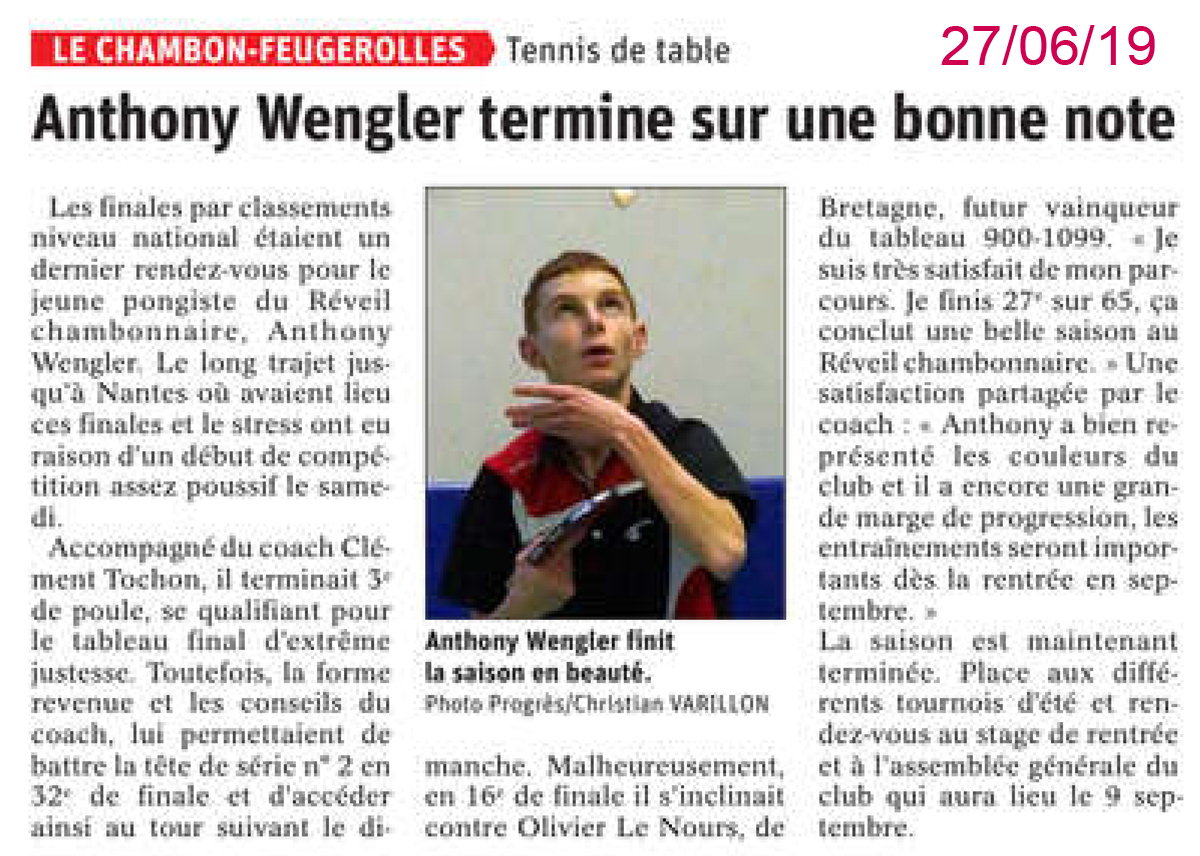 Anthony Wengler aux finales nationales