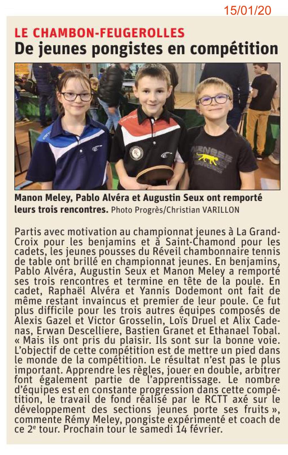 Les jeunes pongistes au championnat Jeunes