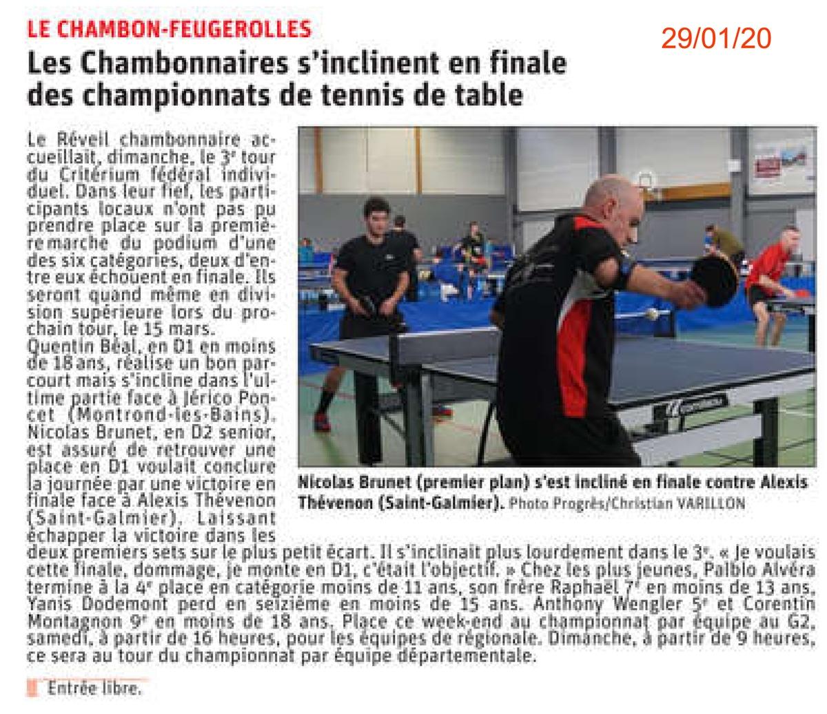Quentin (-18ans) et Nicolas (D2 senior) s'inclinent en finale
