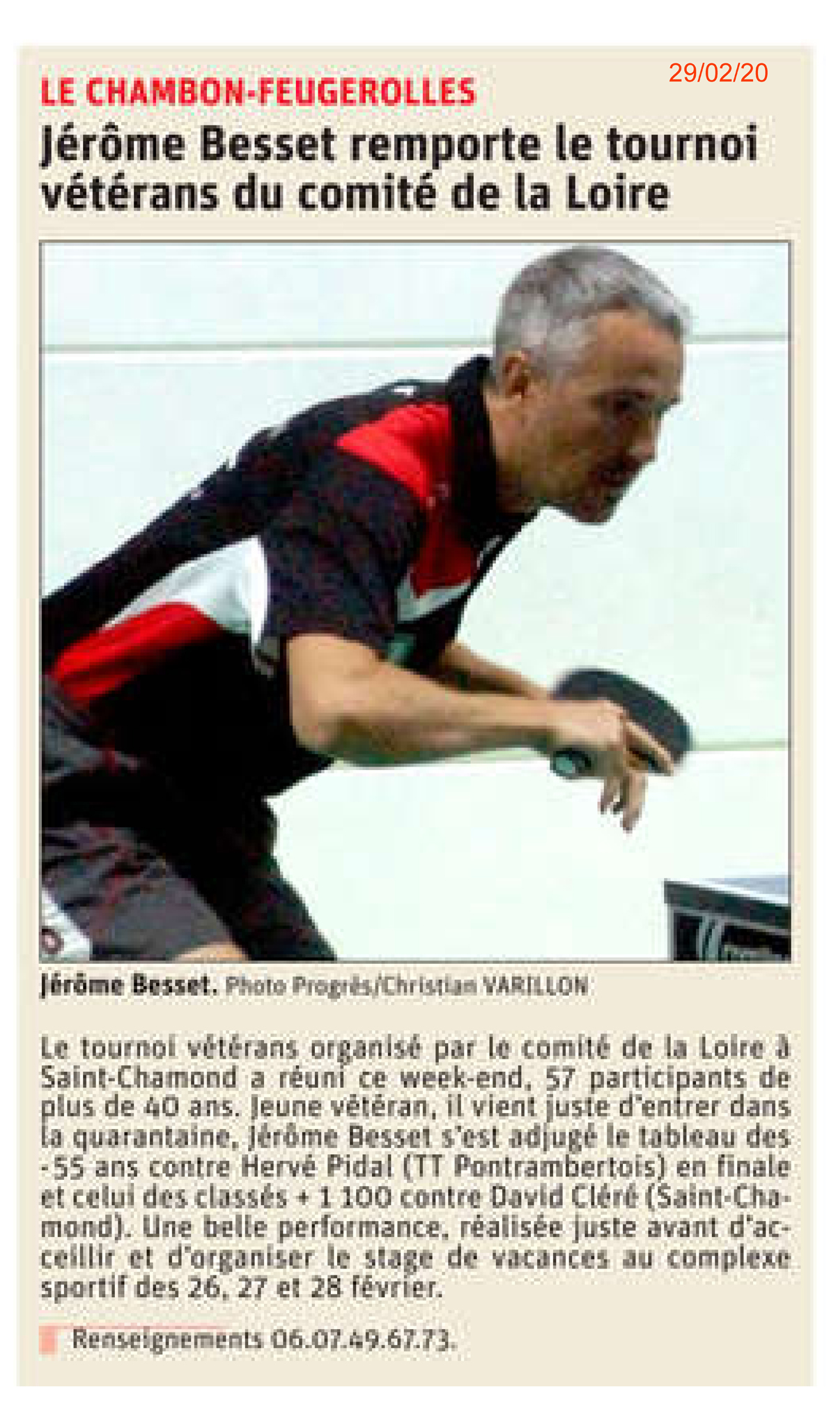 Le tournoi Vétérans pour Jérôme Besset