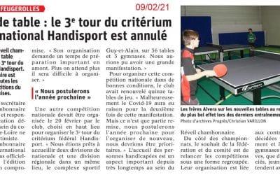 Tennis de table : le 3ème tour du critérium fédéral national handisport est annulé