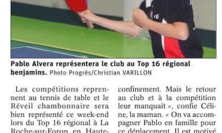 Le jeune pongiste Pablo Alvera au Top 16 régional