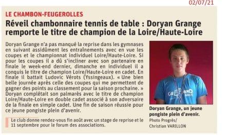 Doryan GRANGE remporte le titre de Champion Loire Haute-Loire